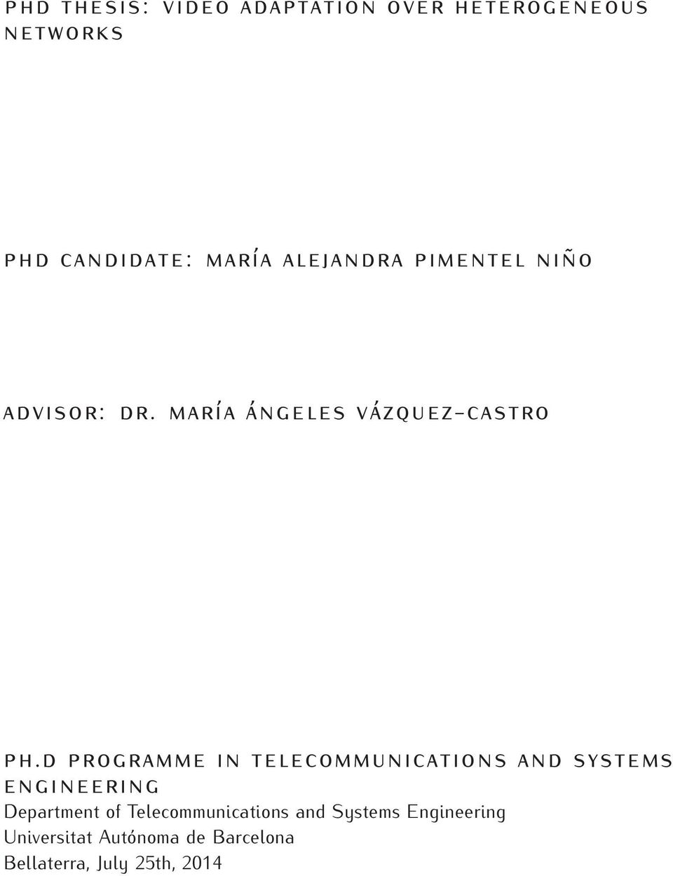 d programme in telecommunications and systems engineering Department of