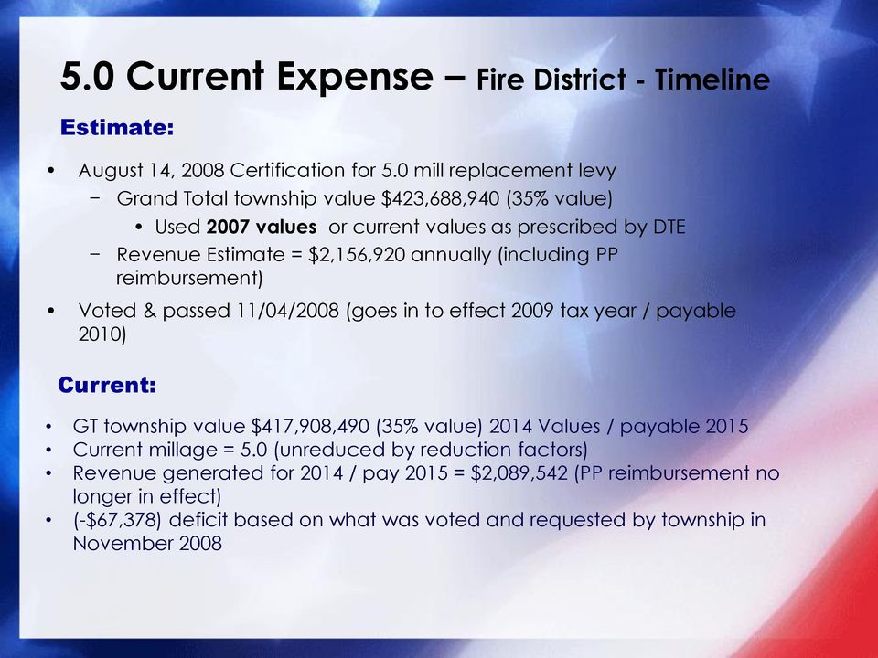 annually (including PP reimbursement) Voted & passed 11/04/2008 (goes in to effect 2009 tax year / payable 2010) Current: GT township value $417,908,490 (35% value)