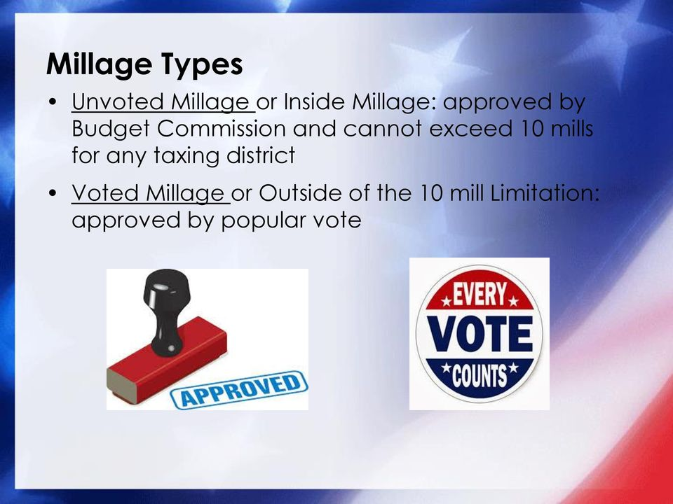 mills for any taxing district Voted Millage or