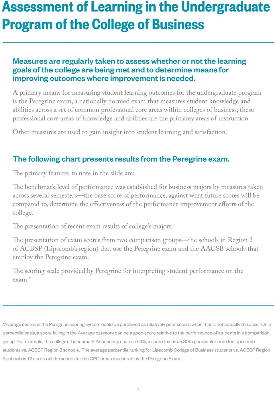 A primary means for measuring student learning outcomes for the undergraduate program is the Peregrine exam, a nationally normed exam that measures student knowledge and abilities across a set of