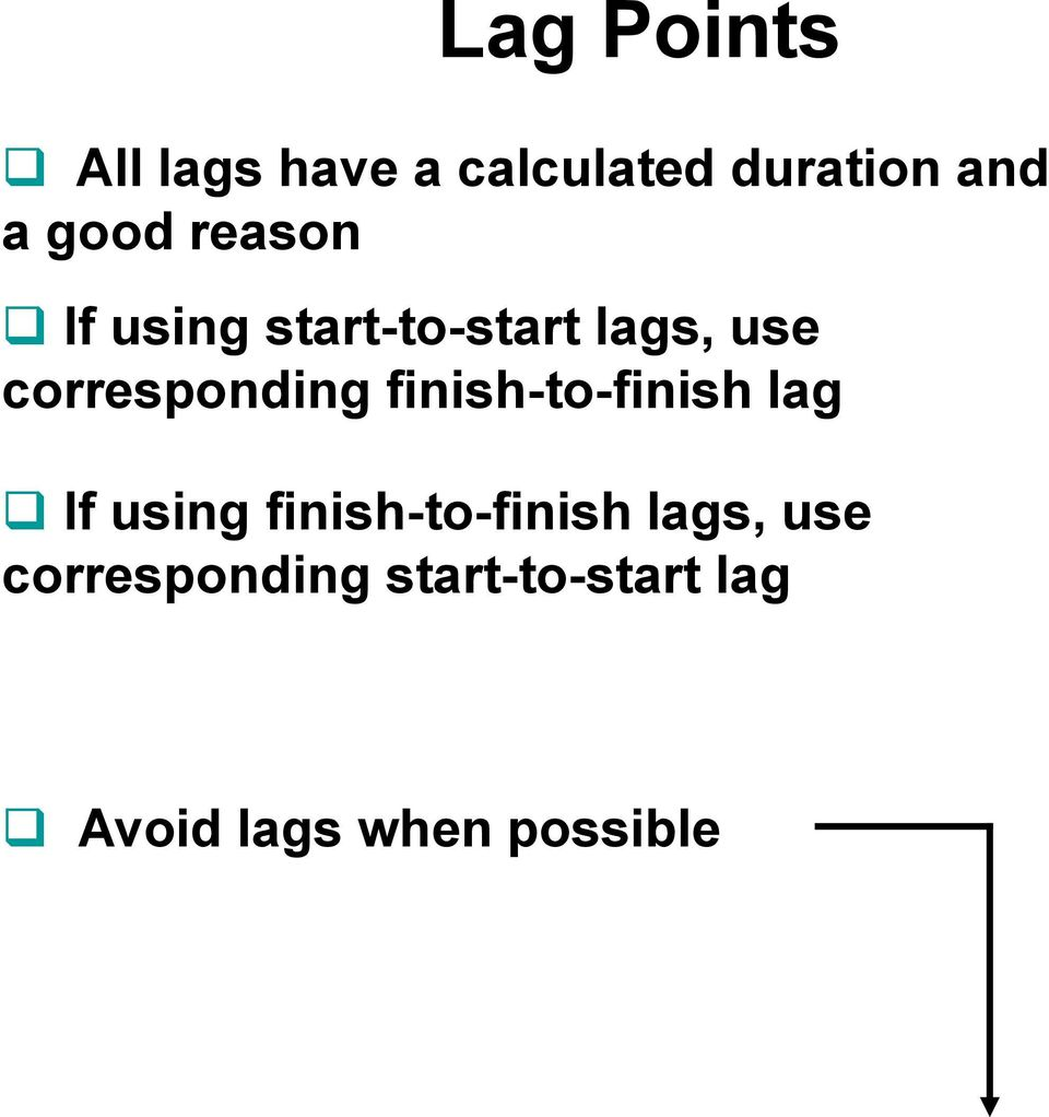 corresponding finish-to-finish lag If using
