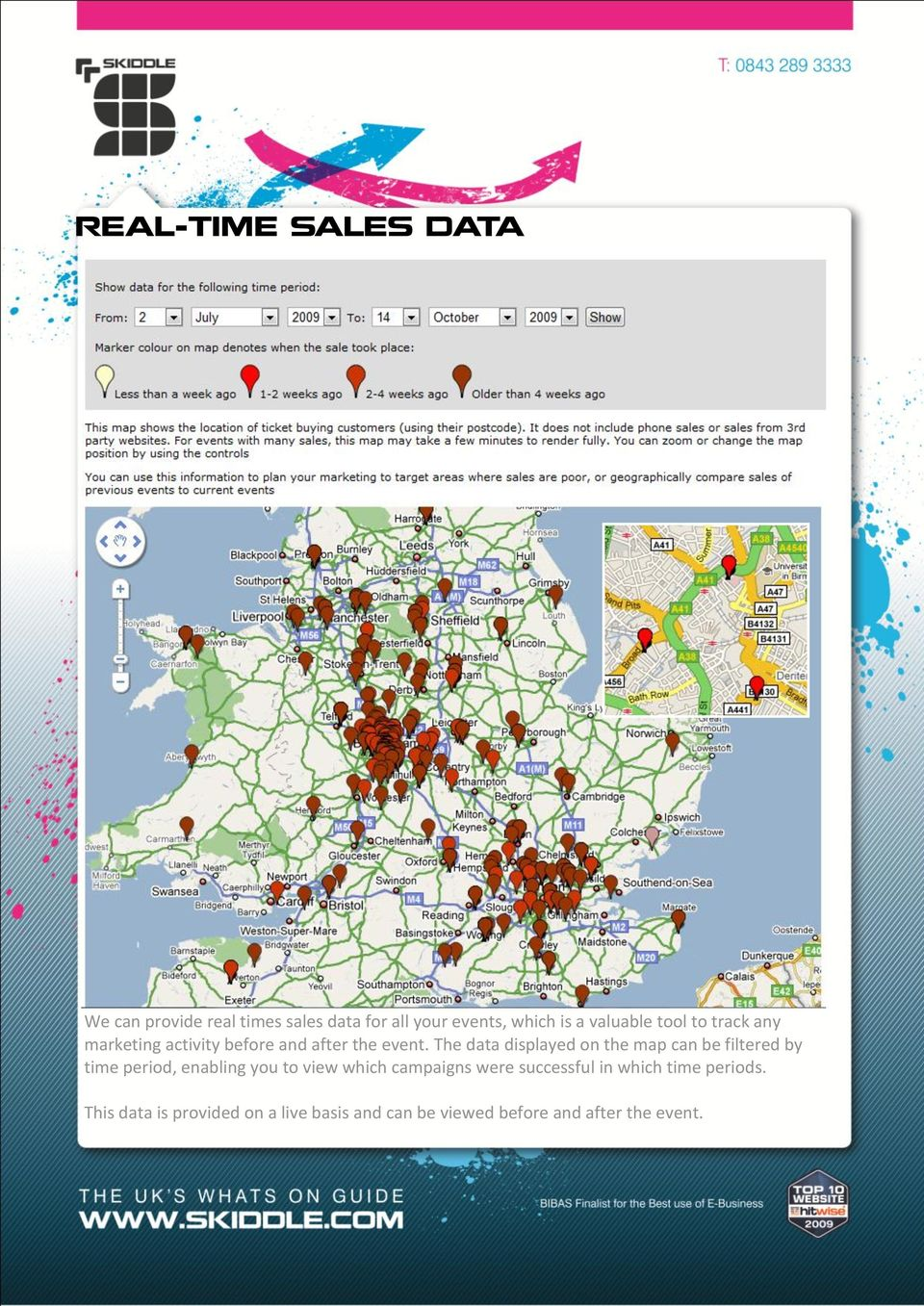 The data displayed on the map can be filtered by time period, enabling you to view which