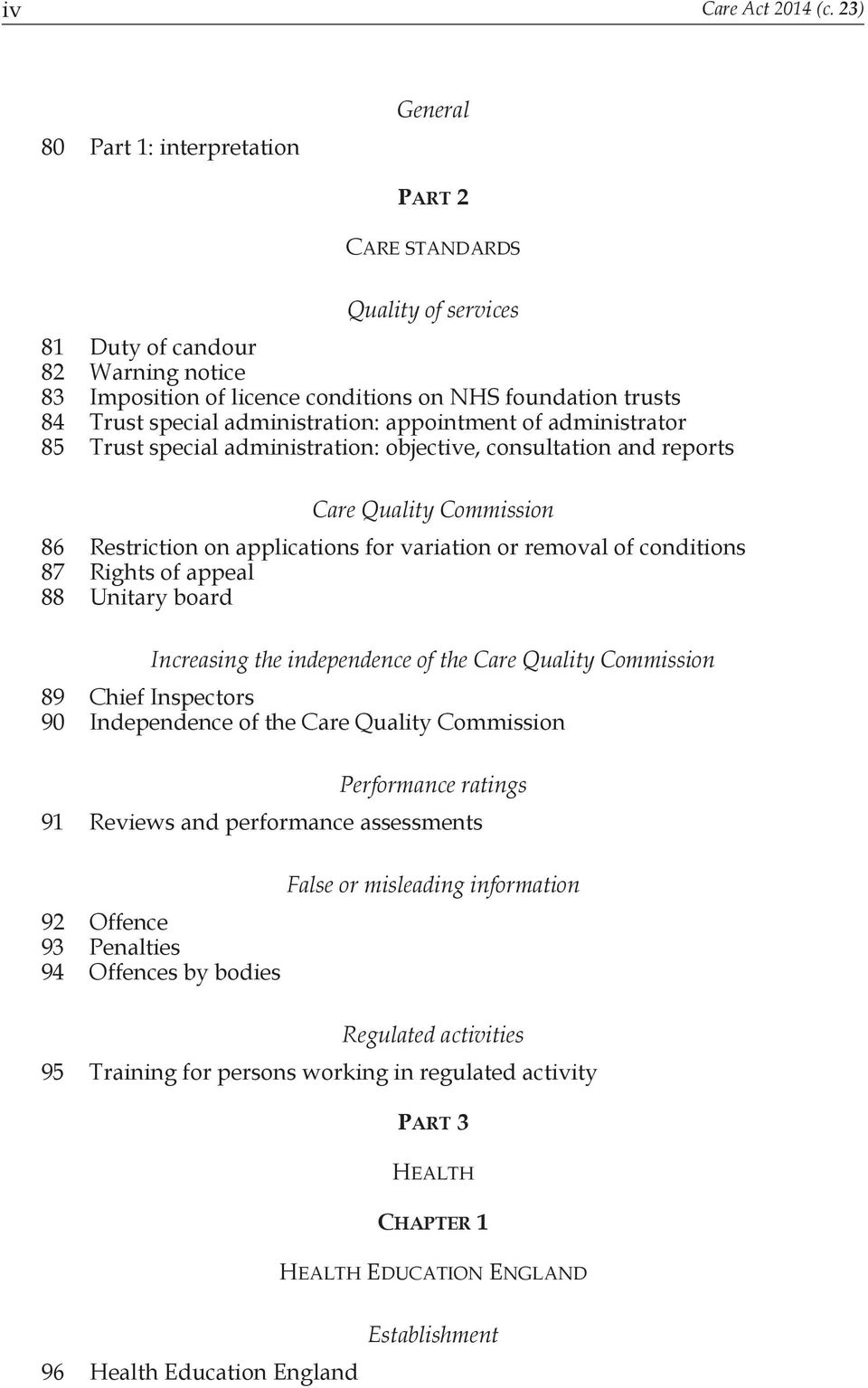 administration: appointment of administrator 85 Trust special administration: objective, consultation and reports Care Quality Commission 86 Restriction on applications for variation or removal of