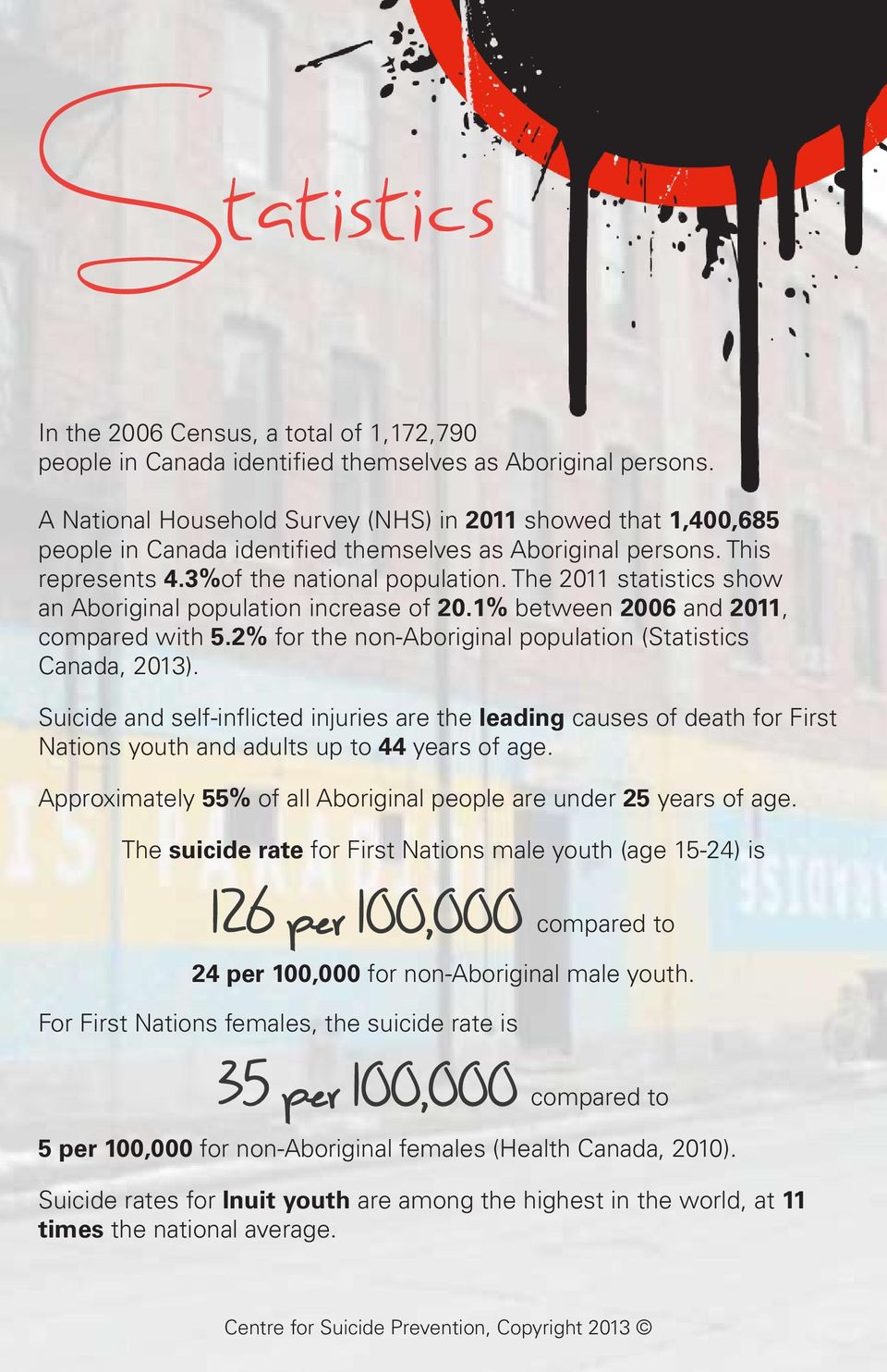 The 2011 statistics show an Aboriginal population increase of 20.1% between 2006 and 2011, compared with 5.2% for the non-aboriginal population (Statistics Canada, 2013).