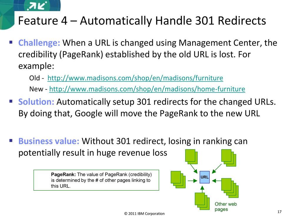 By doing that, Google will move the PageRank to the new URL Business value: Without 301 redirect, losing in ranking can potentially result in huge revenue loss