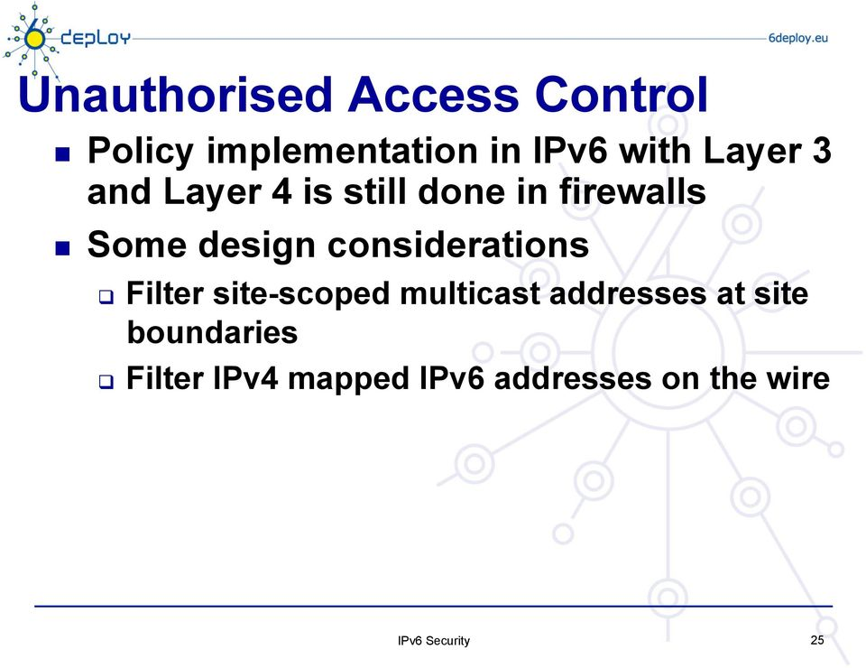 design considerations Filter site-scoped multicast addresses