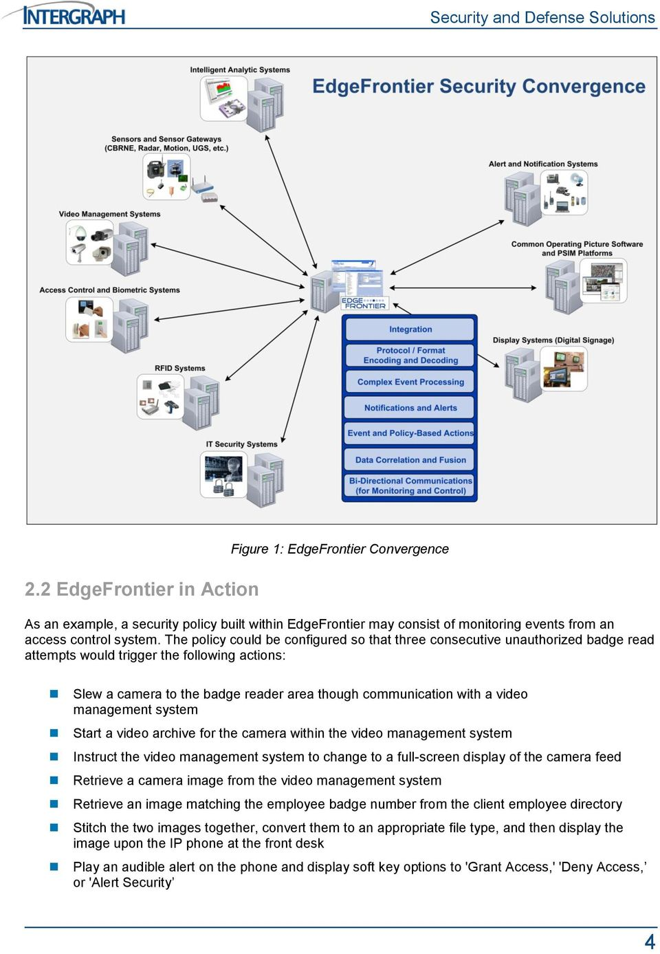 management system Start a video archive for the camera within the video management system Instruct the video management system to change to a full-screen display of the camera feed Retrieve a camera