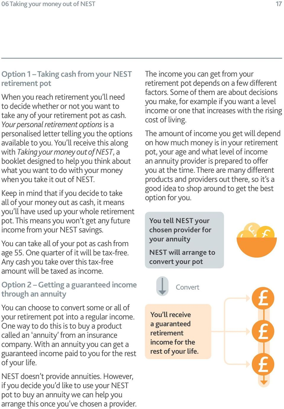 You ll receive this along with Taking your money out of NEST, a booklet designed to help you think about what you want to do with your money when you take it out of NEST.