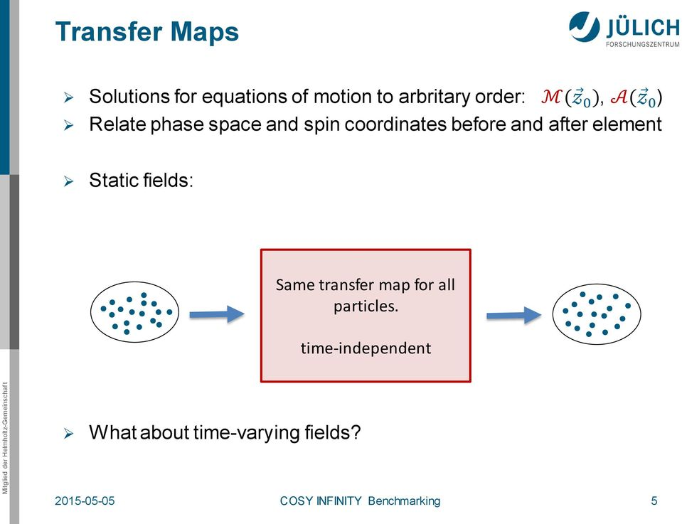 element Static fields: Same transfer map for all particles.