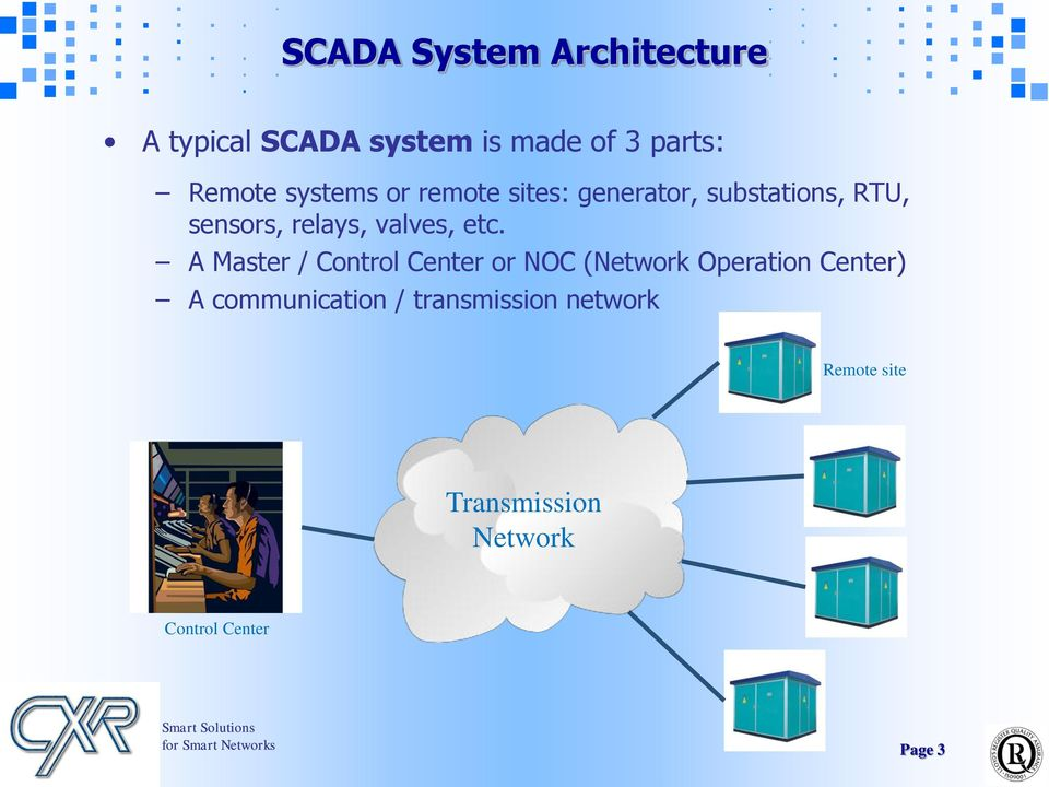 etc. A Master / Control Center or NOC (Network Operation Center) A