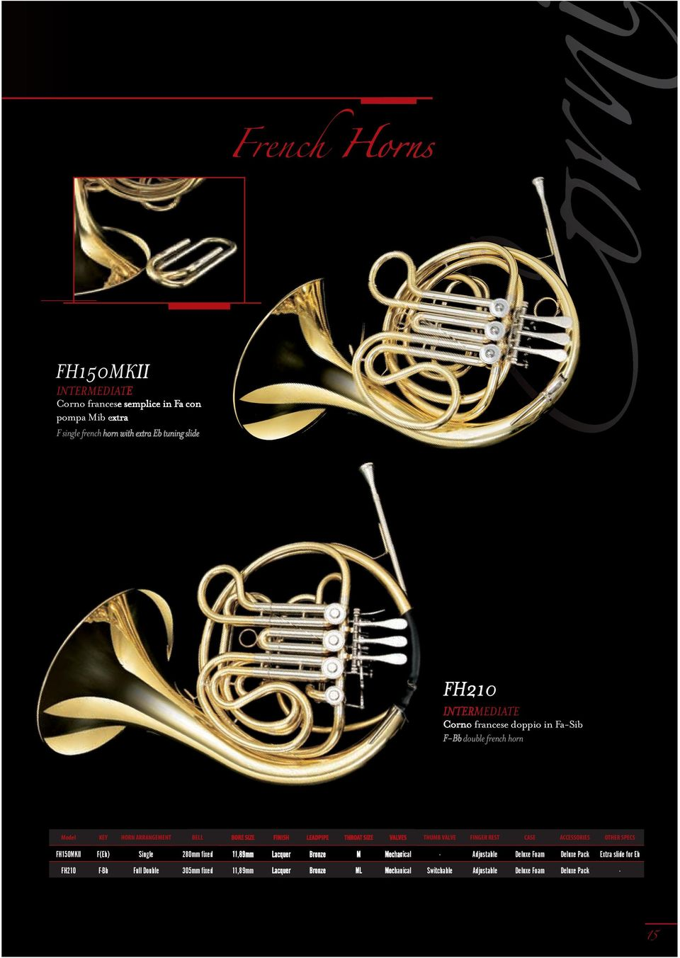 F-Bb double french horn Model KEY HORN ARRANGEMENT BELL BORE SIZE FINISH