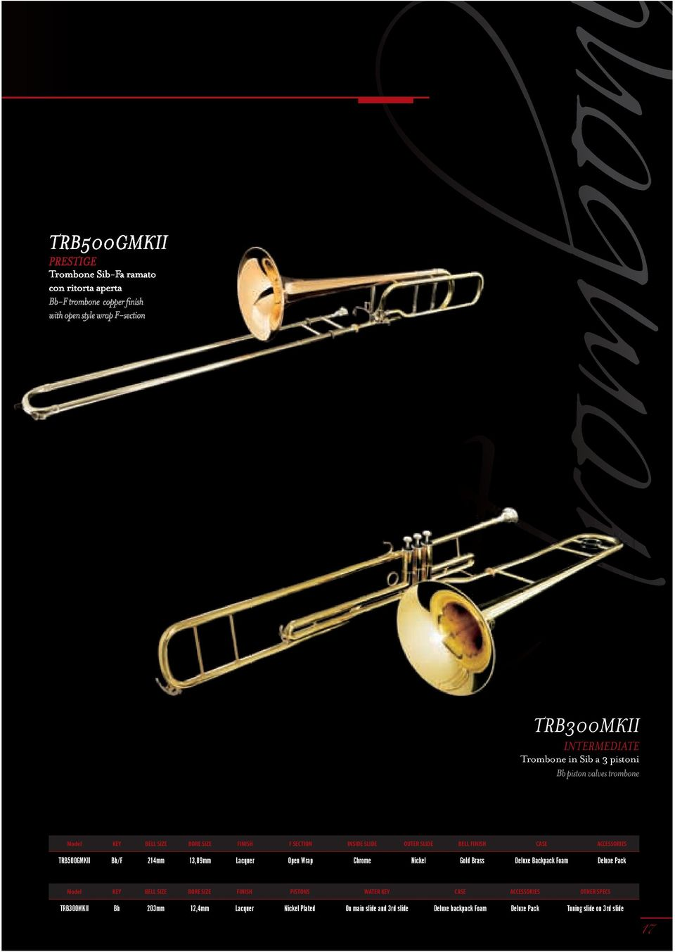 valves trombone Model KEY BELL SIZE BORE SIZE FINISH F SECTION INSIDE SLIDE OUTER SLIDE BELL