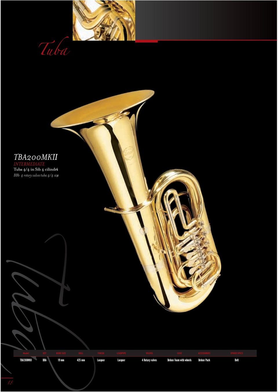 Tuba Model KEY BORE SIZE BELL FINISH