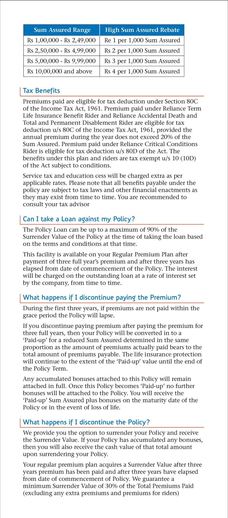 Premium paid under Reliance Term Life Insurance Benefit Rider and Reliance Accidental Death and Total and Permanent Disablement Rider are eligible for tax deduction u/s 80C of the Income Tax Act,