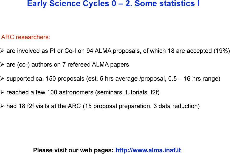 (19%) are (co-) authors on 7 refereed ALMA papers supported ca. 150 proposals (est. 5 hrs average /proposal, 0.