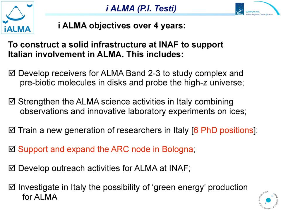science activities in Italy combining observations and innovative laboratory experiments on ices; Train a new generation of researchers in Italy [6 PhD