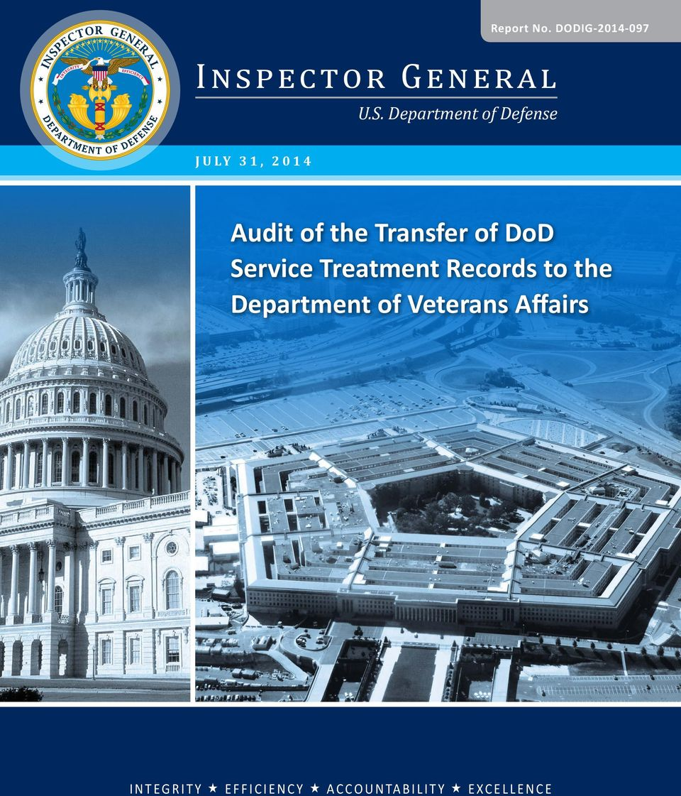 DoD Service Treatment Records to the Department of