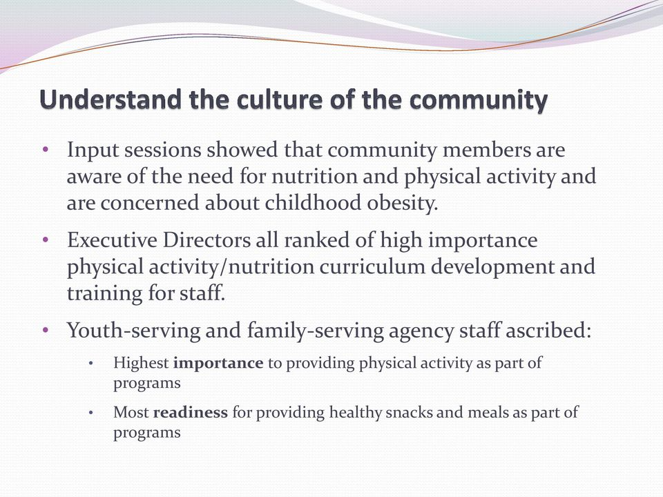 Executive Directors all ranked of high importance physical activity/nutrition curriculum development and training for