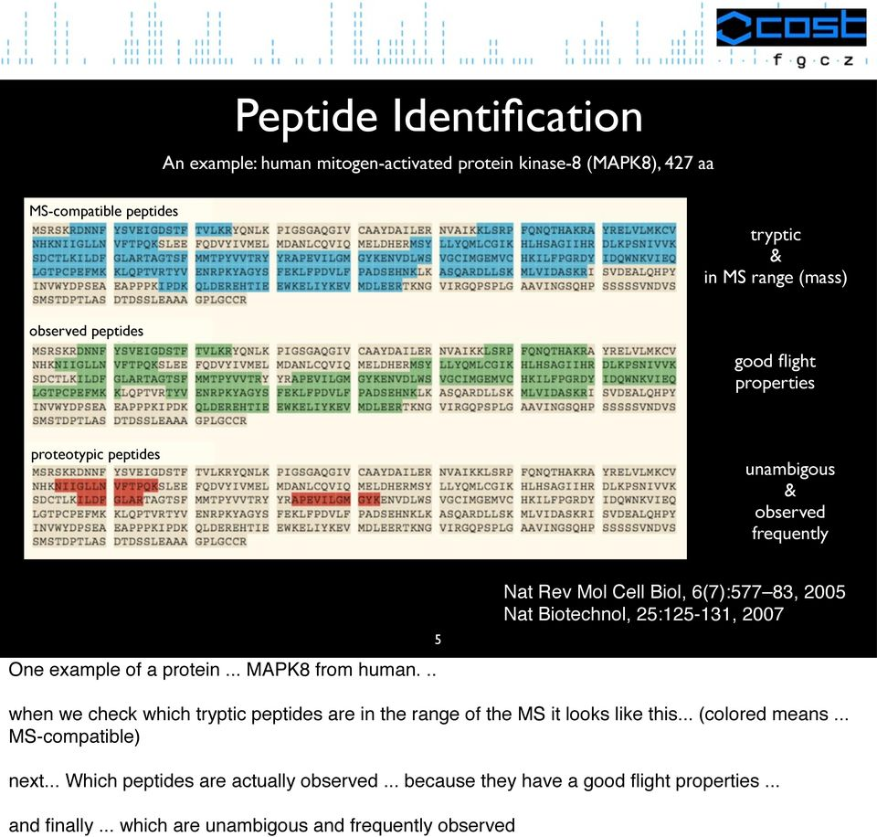 .. 5 Nat Rev Mol Cell Biol, 6(7):577 83, 2005 Nat Biotechnol, 25:125-131, 2007 when we check which tryptic peptides are in the range of the MS it looks like