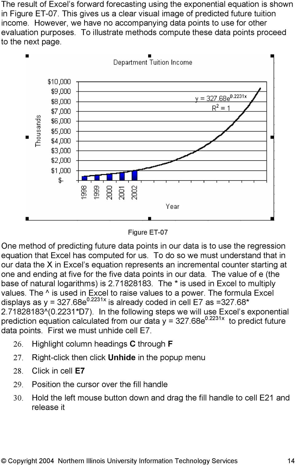 Figure ET-07 One method of predicting future data points in our data is to use the regression equation that Excel has computed for us.