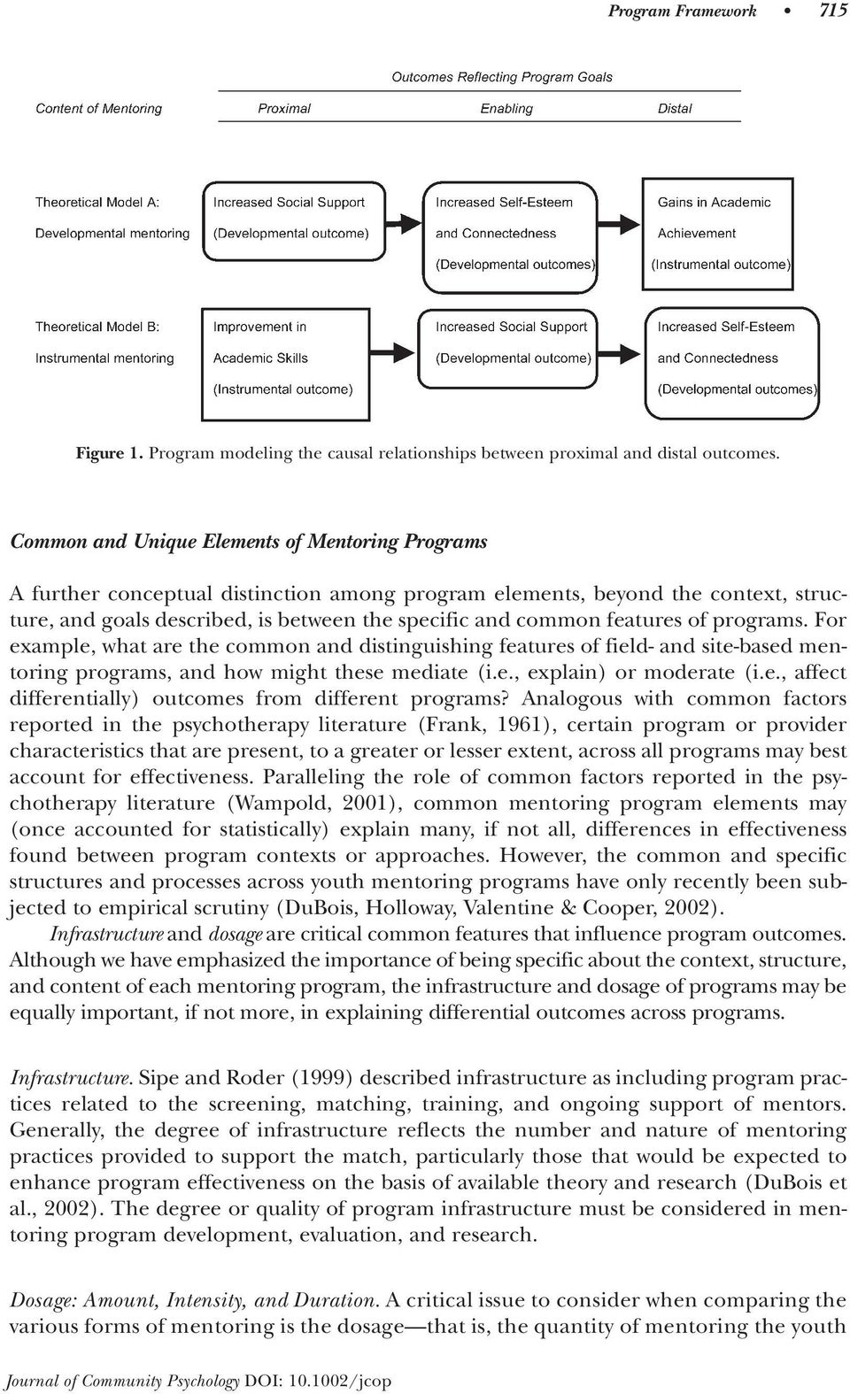 features of programs. For example, what are the common and distinguishing features of field- and site-based mentoring programs, and how might these mediate (i.e., explain) or moderate (i.e., affect differentially) outcomes from different programs?