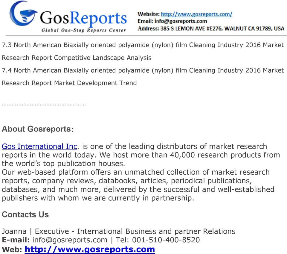 is one of the leading distributors of market research reports in the world today. We host more than 40,000 research products from the world s top publication houses.
