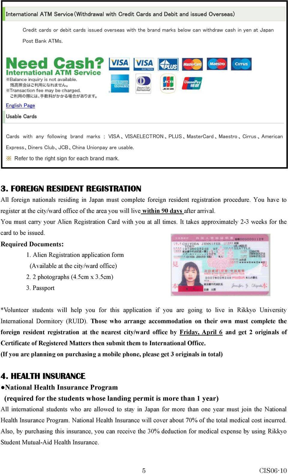 Refer to the right sign for each brand mark. 3. FOREIGN RESIDENT REGISTRATION All foreign nationals residing in Japan must complete foreign resident registration procedure.