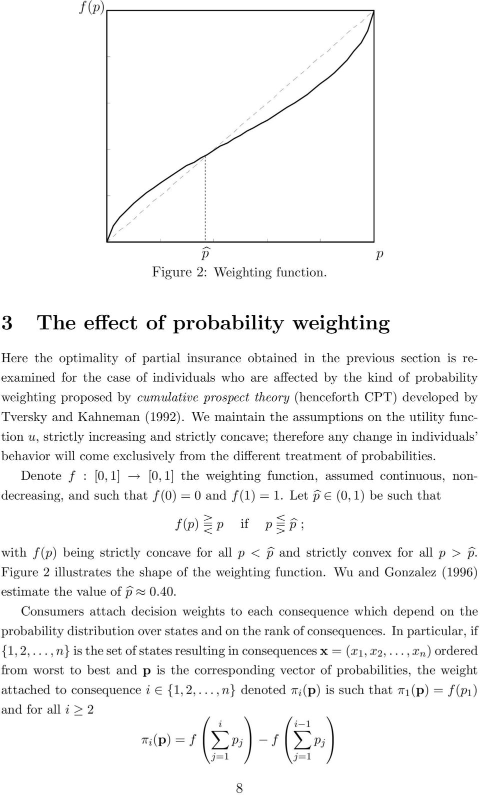weighting proposed by cumulative prospect theory (henceforth CPT) developed by Tversky and Kahneman (1992).