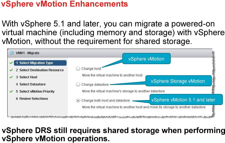 with vsphere vmotion, without the requirement for shared storage.