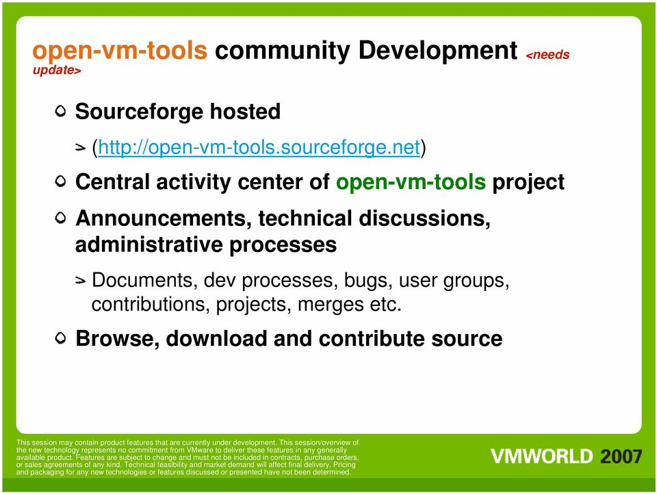 net) Central activity center of open-vm-tools project Announcements, technical