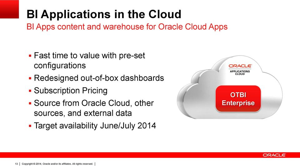 out-of-box dashboards Subscription Pricing Source from Oracle Cloud,