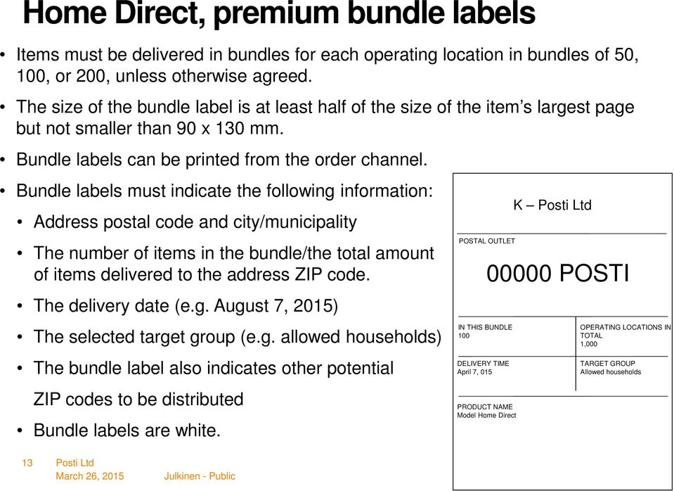 Bundle labels must indicate the following information: Address postal code and city/municipality The number of items in the bundle/the total amount of items delivered to the address ZIP code.