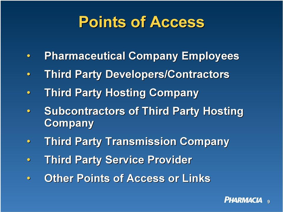 Subcontractors of Third Party Hosting Company Third Party