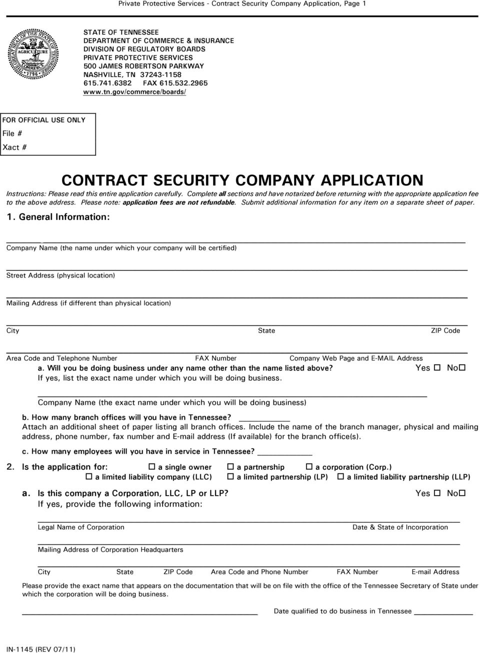 gov/commerce/boards/ FOR OFFICIAL USE ONLY File # Xact # CONTRACT SECURITY COMPANY APPLICATION Instructions: Please read this entire application carefully.