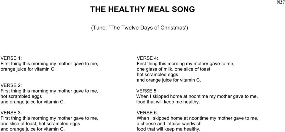 VERSE 2: First thing this morning my mother gave to me, VERSE 5: hot scrambled eggs When I skipped home at noontime my mother gave to me, and orange juice for vitamin C.