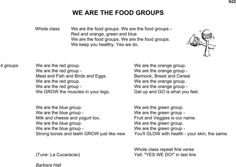 We are the orange group. We are the red group - We are the orange group - We GROW the muscles in your legs. Get up and GO is what you feel. We are the blue group. We are the green group.