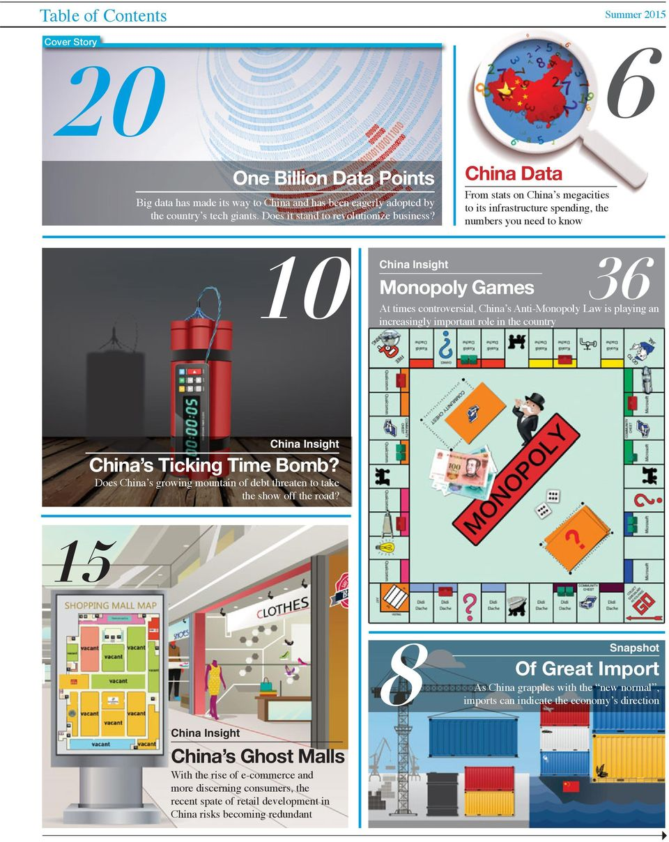 China Data From stats on China's megacities to its infrastructure spending, the numbers you need to know 10 China Insight China Insight 36 Monopoly Games At times controversial, China's Anti-Monopoly