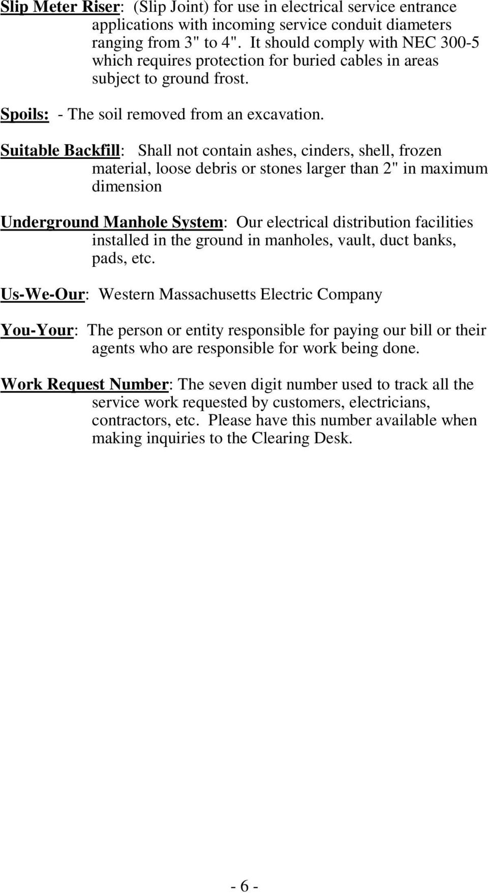 Information And Requirements For Electric Supply Below 600 Volts Pdf Underground Electrical Conduit Installations Maryland Electrician Suitable Backfill Shall Not Contain Ashes Cinders Shell Frozen Material Loose