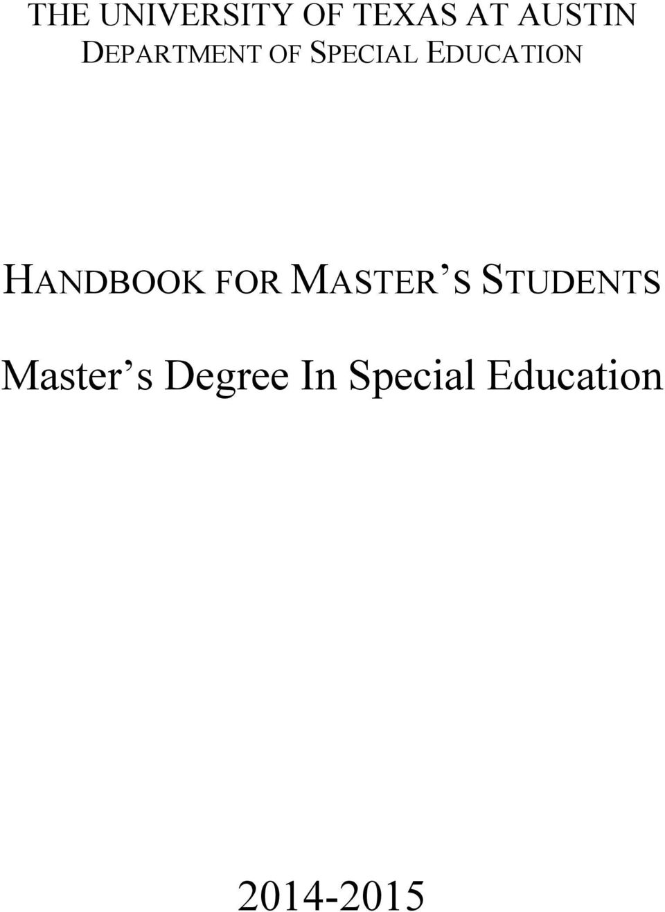 HANDBOOK FOR MASTER S STUDENTS