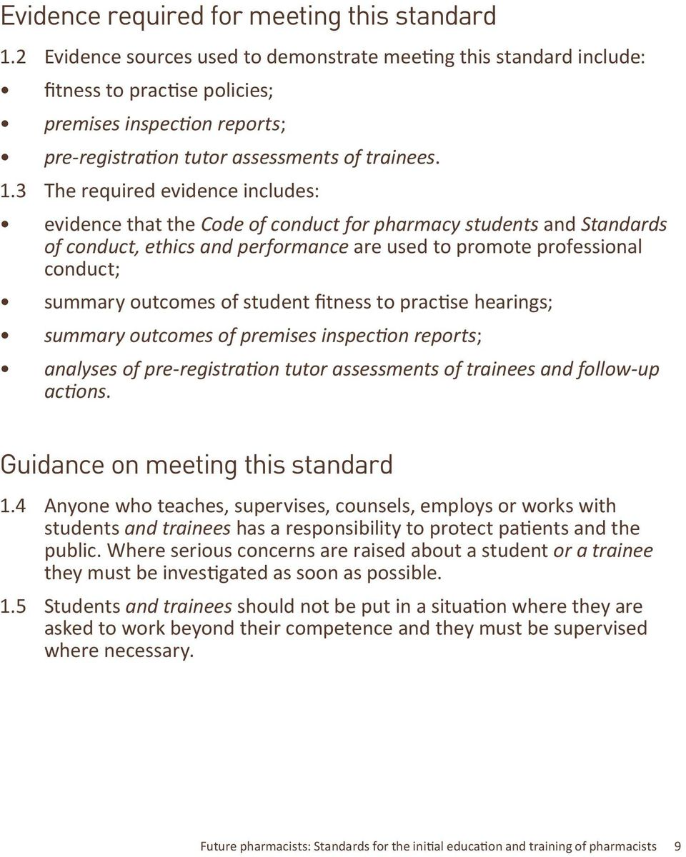 3 The required evidence includes: evidence that the Code of conduct for pharmacy students and Standards of conduct, ethics and performance are used to promote professional conduct; summary outcomes