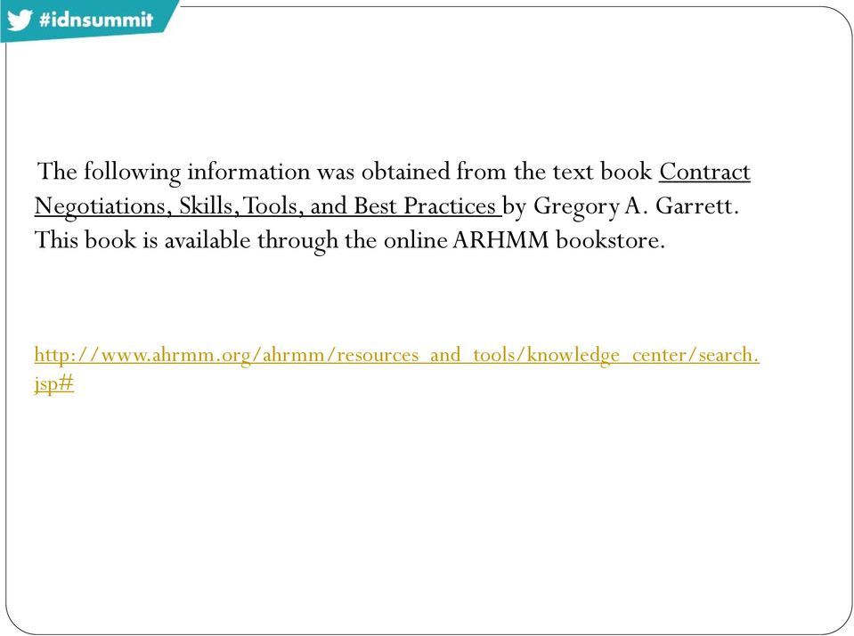 Garrett. This book is available through the online ARHMM bookstore.