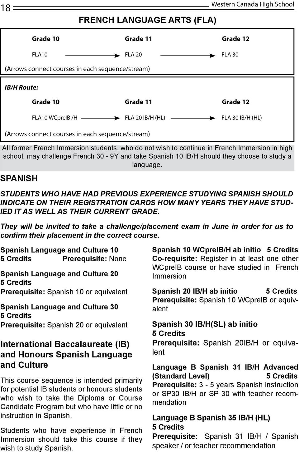 take Spanish 10 IB/H should they choose to study a language.