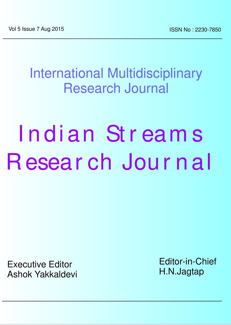 Research Journal Indian Streams Research Journal