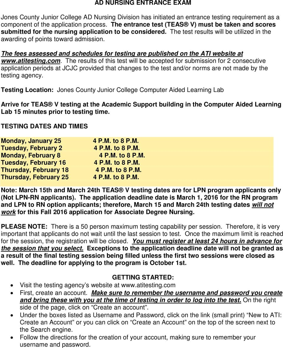 The fees assessed and schedules for testing are published on the ATI website at www.atitesting.com.