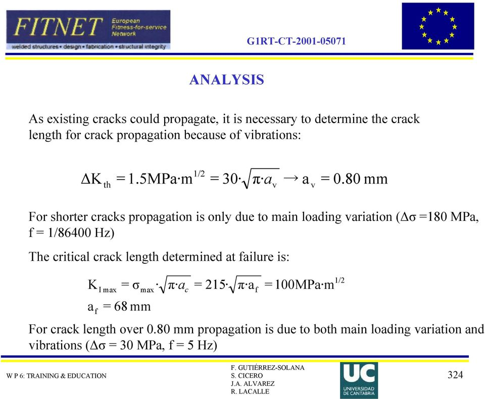 80 mm For shorter cracks propagation is only due to main loading variation (Δσ =180 MPa, f = 1/86400 Hz) The critical crack