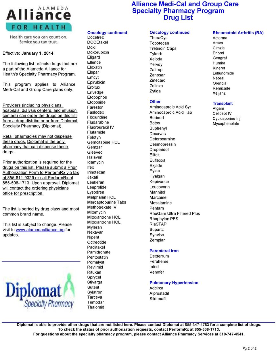 Providers (including physicians, hospitals, dialysis centers, and infusion centers) can order the drugs on this list from a drug distributor or from Diplomat Specialty Pharmacy (Diplomat).