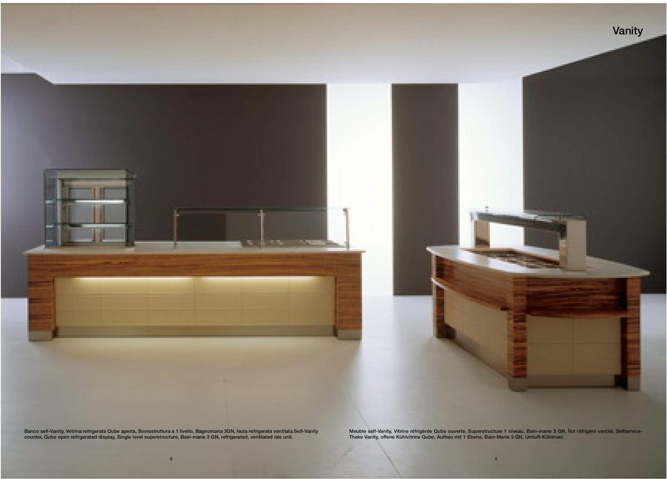 self-vanity counter, Qube open refrigerated display, Single level superstructure, Bain-marie 3 GN, refrigerated, ventilated