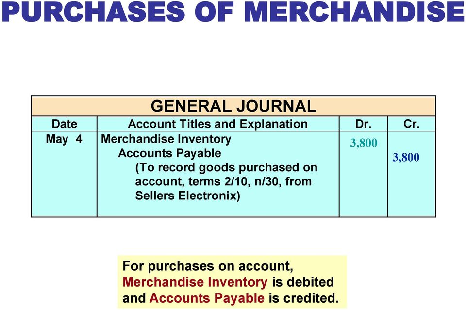 May 4 Merchandise Inventory 3,800 Accounts Payable 3,800 (To record goods