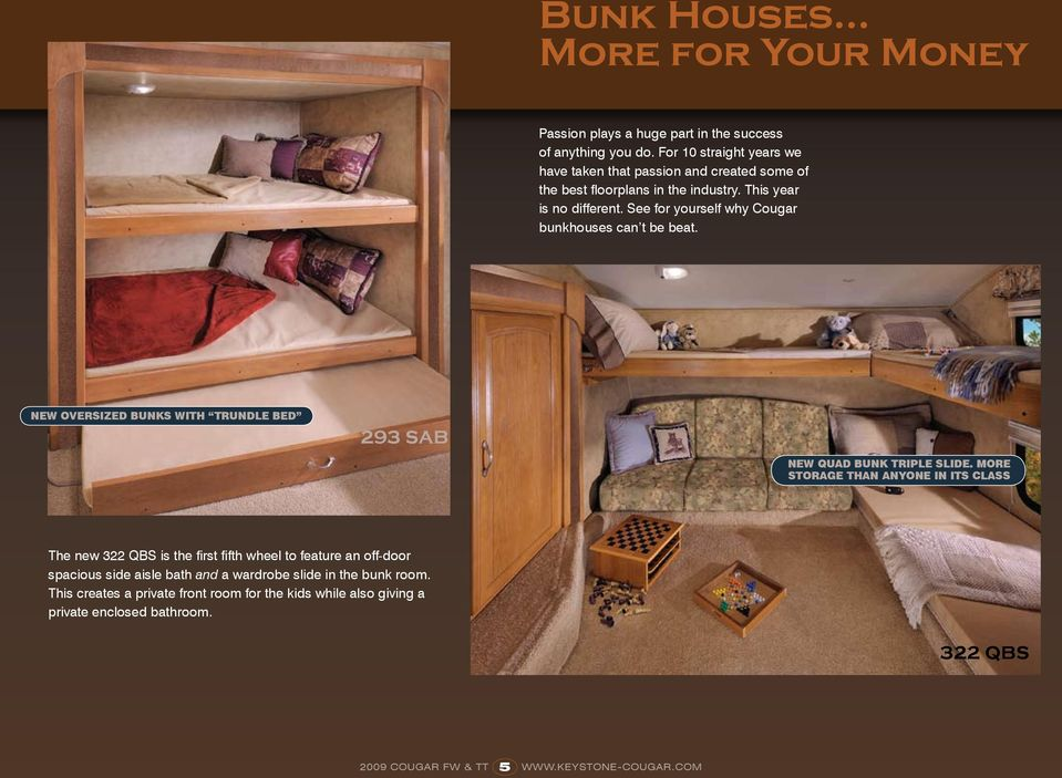 See for yourself why Cougar bunkhouses can t be beat. New oversized bunks with Trundle bed 293 SAB NEW Quad bunk triple slide.