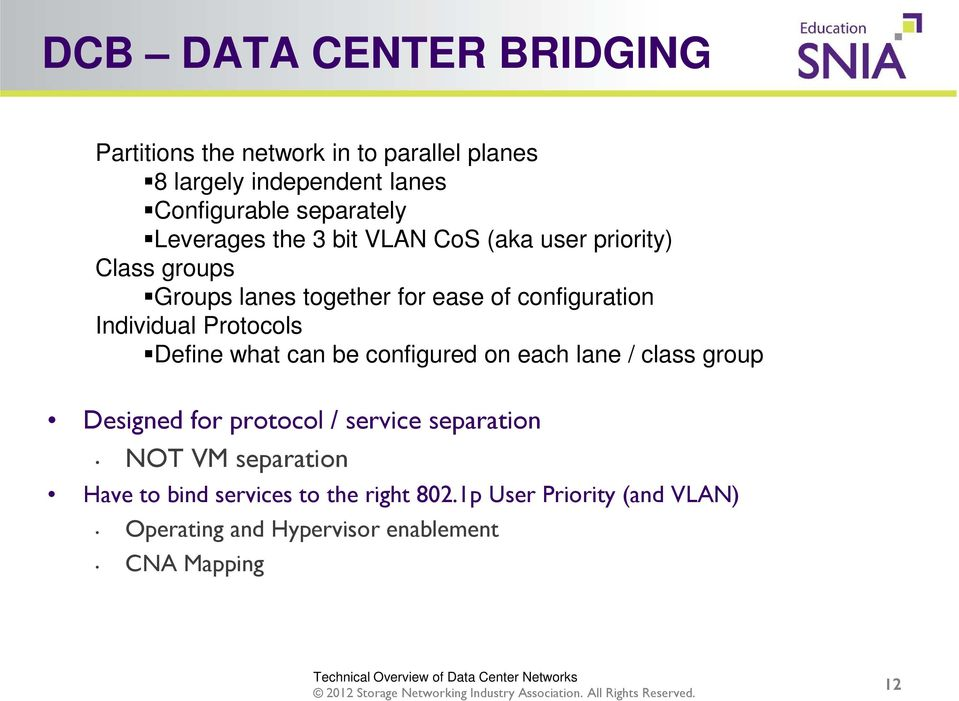 Protocols Define what can be configured on each lane / class group Designed for protocol / service separation NOT VM